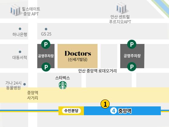 닥터스피부과 안산점 지도